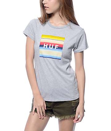 Huf Serape Box Logo Grey T-Shirt