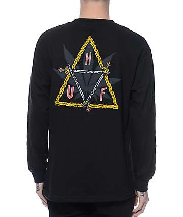 Huf Swords Triple Triangle Black Long Sleeve T-Shirt