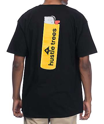 Hustle Trees Lit Like Bic Black T-Shirt