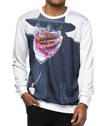 Hypnotize Biggie Bandit White Crew Neck Sweatshirt