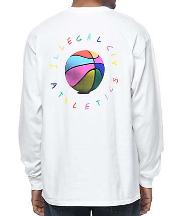 Illegal Civilization Olan Basketball White Long Sleeve T-Shirt