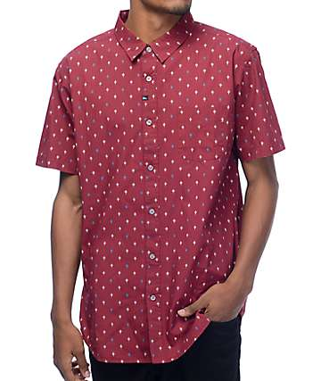 Imperial Motion Brush Oxblood Short Sleeve Button Up Shirt