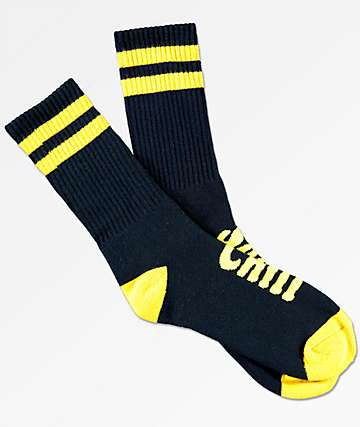 Imperial Motion Chill Seeker Type Navy & Mustard Crew Socks