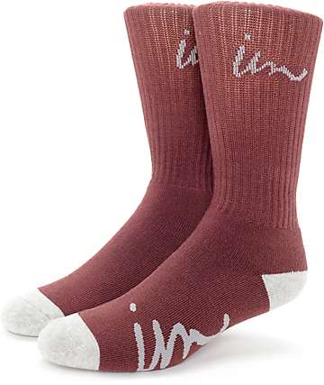 Imperial Motion Curser Burgundy & Grey Crew Socks