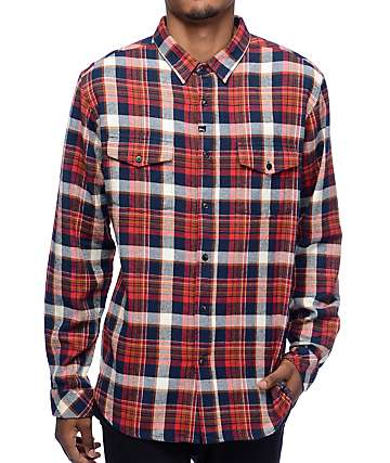 Imperial Motion Cushman camisa de franela en blanco, rojo y azul marino