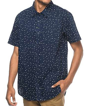 Imperial Motion Dobby Navy Woven Button Up Shirt