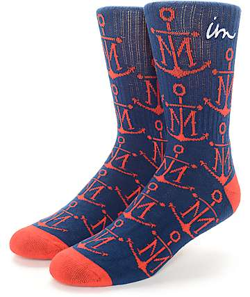 Imperial Motion First Mate Navy & Red Crew Socks