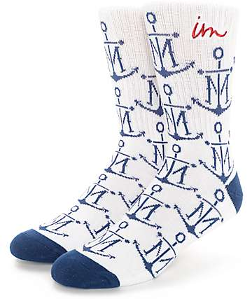 Imperial Motion First Mate White & Navy Crew Socks