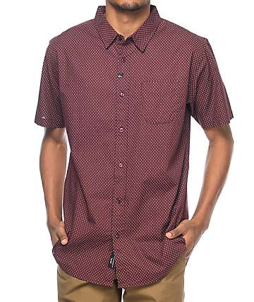 Imperial Motion Flake Burgundy Short Sleeve Button Up Shirt