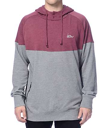 Imperial Motion Forecast Burgundy & Grey Henley Hoodie