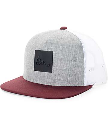 Imperial Motion Lark Heather Grey, Maroon, & White Trucker Hat