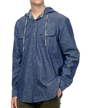 Imperial Motion Olso Indigo Long Sleeve Hooded Button Up Shirt