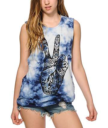 Imperial Motion Peace Hands Tie Dye Muscle Tee