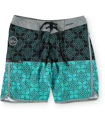 Imperial Motion Quest Black & Aqua Board Shorts