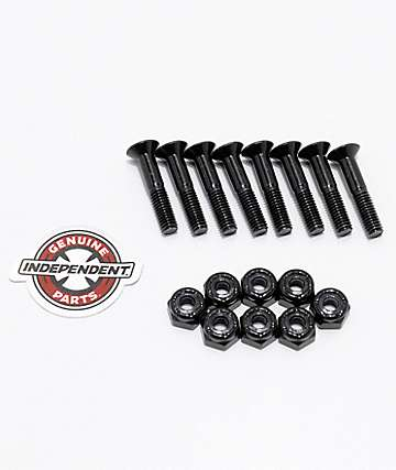"Independent Black Crossbolts 1"" Skateboard Hardware"