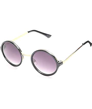 Innuendo Round Black & Gold Sunglasses