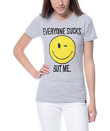 JV By Jac Vanek Everyone Sucks Smiley Grey T-Shirt