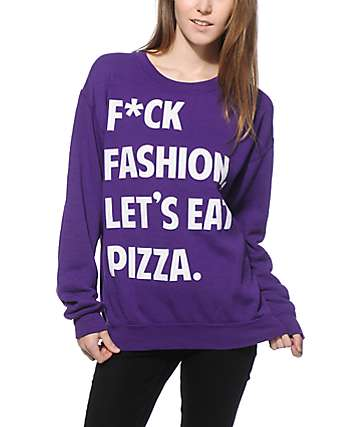 JV By Jac Vanek F*ck Fashion Purple Crew Neck Sweatshirt
