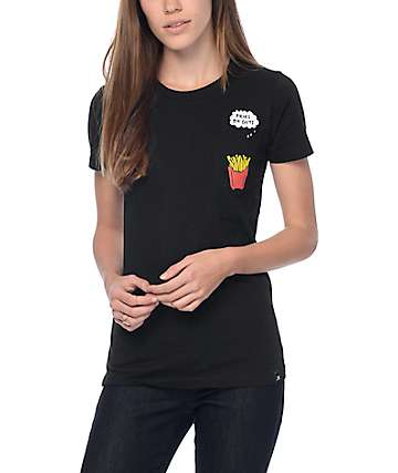 JV By Jac Vanek Fries B4 Guys Black Pocket T-Shirt