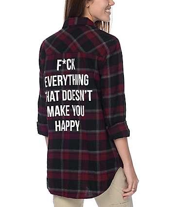 JV By Jac Vanek Happy camisa de franela en borgoño y negro