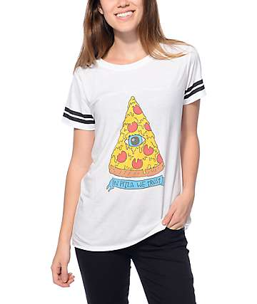 JV By Jac Vanek Sherman Pizza White T-Shirt