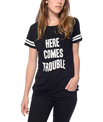 JV By Jac Vanek Sherman Trouble Black T-Shirt
