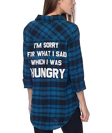 JV By Jac Vanek Sorry camisa de franela en negro y verde azulado