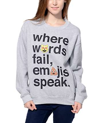 JV by Jac Vanek Emojis Speak Grey Crew Neck Sweatshirt