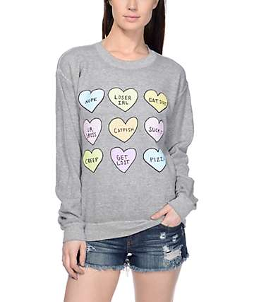 JV by Jac Vanek Hearts Grey Crew Neck Sweatshirt