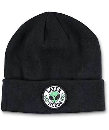 JV by Jac Vanek Later Nerds Black Foldover Beanie