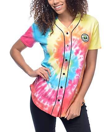 JV by Jac Vanek Later Nerds Multi Colored Tie Dye Baseball Jersey