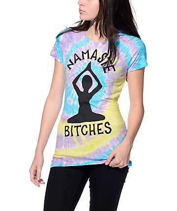 JV by Jac Vanek Namaste Bitches Tie Dye T-Shirt