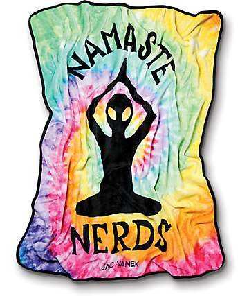 JV by Jac Vanek Namaste Nerds Tie Dye Plush Blanket