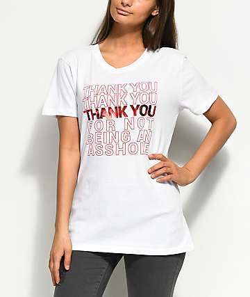 JV by Jac Vanek Thank You For Not Foil White T-Shirt
