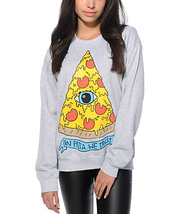 Jac Vanek In Pizza We Trust Crew Neck Sweatshirt