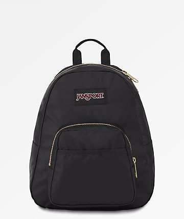 Jansport Half Pint FX Black & Gold Mini Backpack