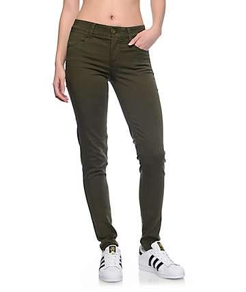 Jolt Techno Tuck Olive Twill Skinny Jeans