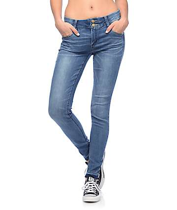 Jolt Techno Tuck Raw Edge Hem Medium Wash Skinny Jeans