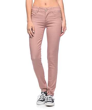 Jolt Techno Tuck Rose Twill Skinny Pants