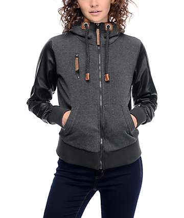 Jou Jou Cara Charcoal & Black Zip Up Hooded Jacket