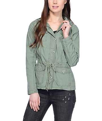 Jou Jou Karina Olive Hooded Anorak Jacket