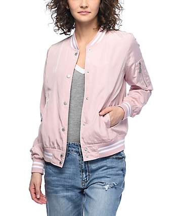 Jou Jou Liz Blush Satin Bomber Jacket