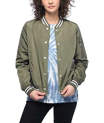 Jou Jou Liz Olive Satin Bomber Jacket