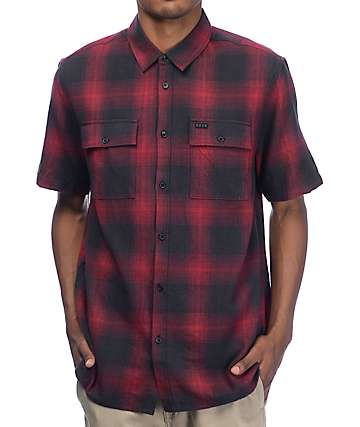 KR3W Adams Black & Red Short Sleeve Flannel Shirt