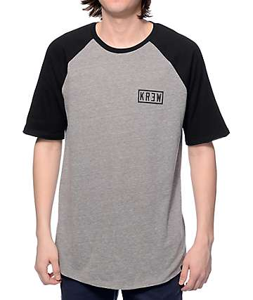 KR3W Bold Locker Heather Grey & Black Baseball T-Shirt