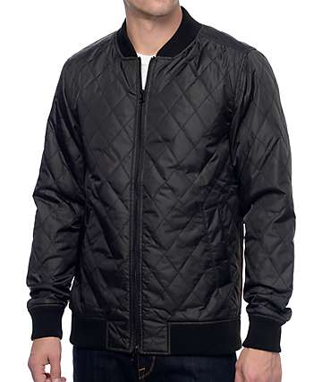 KR3W Bowery Black Quilted Bomber Jacket