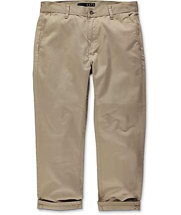 KR3W Klassic pantalones chinos cortados en caqui