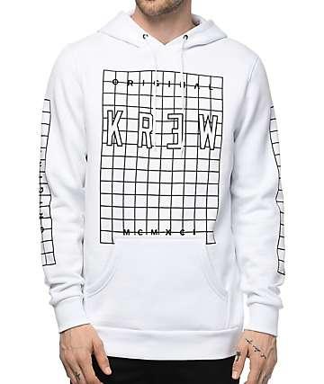 KR3W Lock Grid White Fleece Hoodie