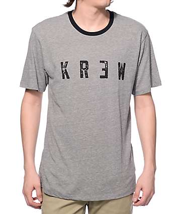 KR3W Locker Distressed Heather Grey Ringer T-Shirt