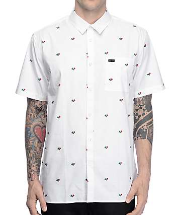 KR3W Reed Rose Print White Button Up Shirt